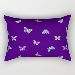 Christmas Butterfly Ornaments on purple Rectangular Pillow