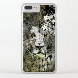 LION KING OF BEASTS ABSTRACT PORTRAIT Clear iPhone Case