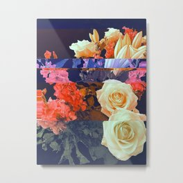 Glitched Flowers - Red Metal Print