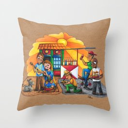 Pesebre de Navidad Maracucho / Christmas Nativity set from Maracaibo Throw Pillow