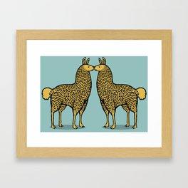 Kissing Llamas Framed Art Print