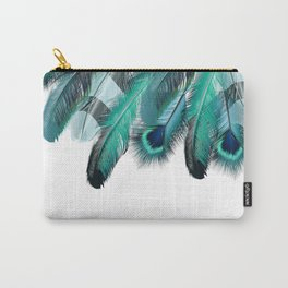 Peacock Feathers Aqua Blue Carry-All Pouch