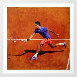 Roger Federer Tennis Chip Return Art Print