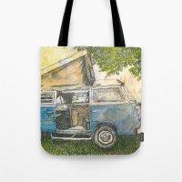vw bus Tote Bags featuring VW Camper Bus by Barb Laskey Studio