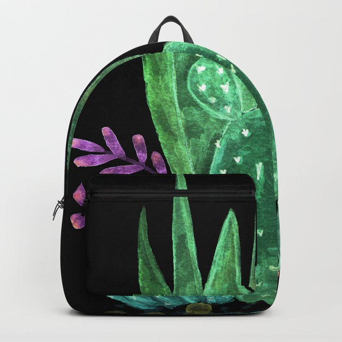 Cacti and succulents on a black background. Backpack