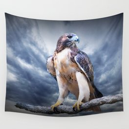 Red-Tail Hawk Portrait Wall Tapestry