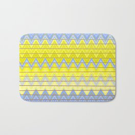 Simple Yellow Grey and Periwinkle Blue Zig Zag Modern Bath Mat