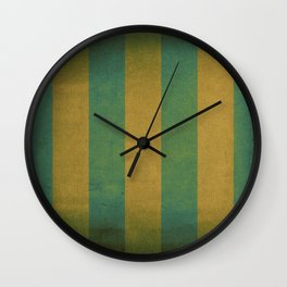 Vintage green striped deck chair cover Wall Clock