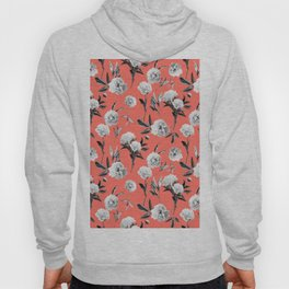 Peonies Mono Coral Hoody