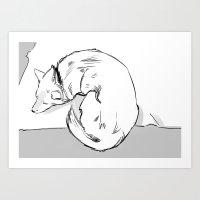 shiba inu Art Prints featuring Shiba Inu by Cassandra Jean