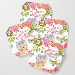 Warblers Visit Rose's Garden Trellis Coaster