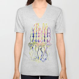 Rod cell cone cells and bipolar neurons inside the eye Unisex V-Neck