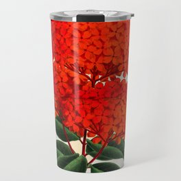 Vintage Scientific Flower Illustration Large Red Flowers Large Orange Petals Travel Mug
