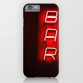 Retro Bar Sign with neon light on dark background iPhone Case