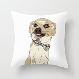 Chihuahua Dog with Bow Tie Throw Pillow