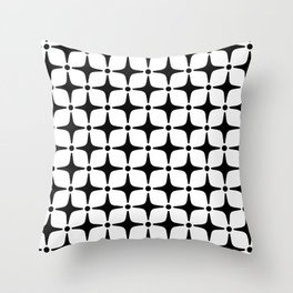 Mid Century Modern Star Pattern Black and White Throw Pillow