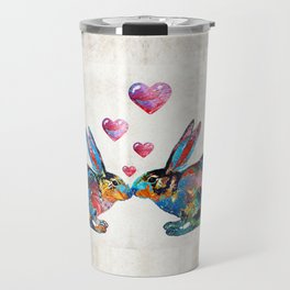Bunny Rabbit Art - Hopped Up On Love - By Sharon Cummings Travel Mug