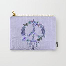 Purple Watercolor Peace Symbol Floral Dreamcatcher Carry-All Pouch