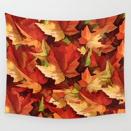 Autumn Leaves Abstract - Painterly Wall Tapestry
