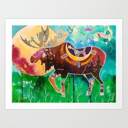 Fantastic Moose - Animal - by LiliFlore Art Print