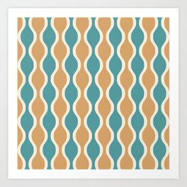 Ogee Pattern 736 Beige and Turquoise Art Print