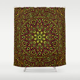 Red Orange and Yellow kaleidoscope Shower Curtain