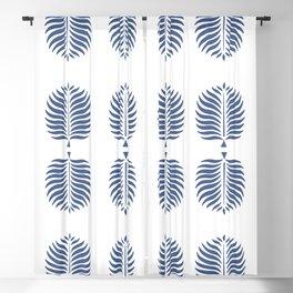 TROPICAL PALMS . WHITE + BLUE Blackout Curtain