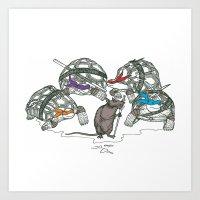 ninja turtles Art Prints featuring Ninja Turtles by Vickn