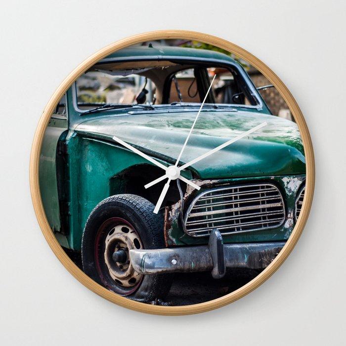 Smashed vintage car Wall Clock