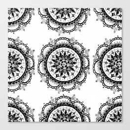 Black and White Floral Rose Mandala Textile Canvas Print