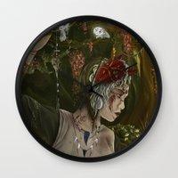 princess mononoke Wall Clocks featuring mononoke by Devon Busby Busbyart