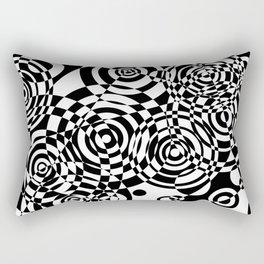 Raindrops 2 Black and White Geometric Painting Rectangular Pillow
