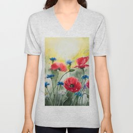 Meadow of Poppies Watercolour Painting by Monika Unisex V-Neck
