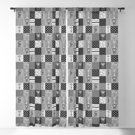 Jungle Friends Shades of Grey Cheater Quilt Blackout Curtain