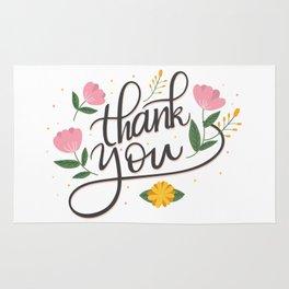 Thank you elegant lettering floral accents Rug