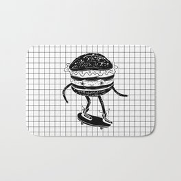 Cucumburger. Cucumber Burger on skateboard Bath Mat