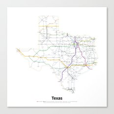 Highways of the USA – Texas Canvas Print
