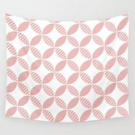 Mid Century Modern Geometric Flower Pattern Dusty Rose Wall Tapestry