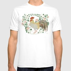 Rooster and morning glory White MEDIUM Mens Fitted Tee