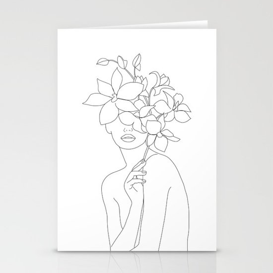 Minimal Line Art Woman with Orchids by nadja1