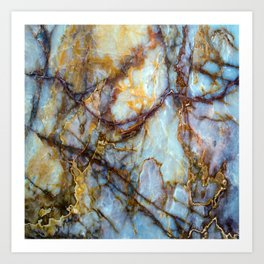 Natural turquoise and gold stone Art Print