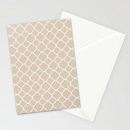 Clover Quatrefoil Pattern: Beige Stationery Cards