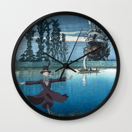 Howl's castle and the scarecrow japanese mashup Wall Clock