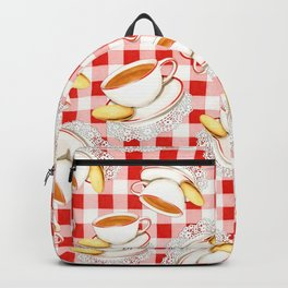 Cup of Tea, a Biscuit and Red Gingham Backpack