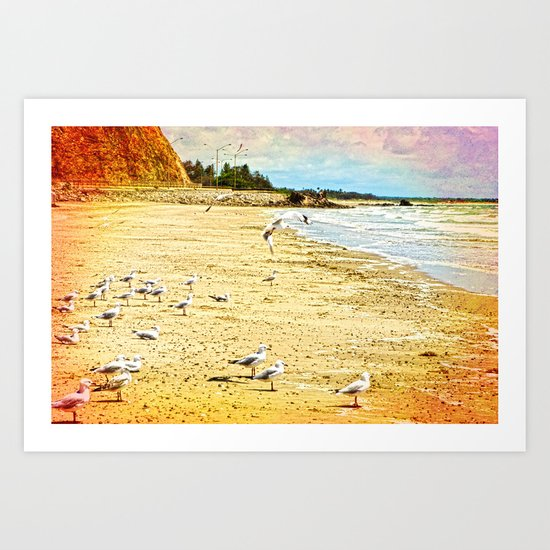 Gulls on the beach Art Print