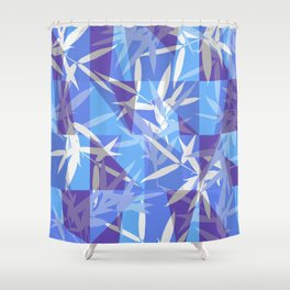 Bamboo in Blue Geometric Pattern Shower Curtain
