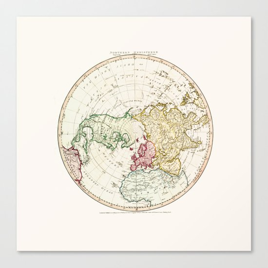 Northern Hemisphere- reproduction of William Faden's 1790 engraving Canvas Print