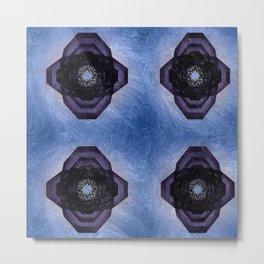 Indigo Circle Cross on Sky Background Metal Print