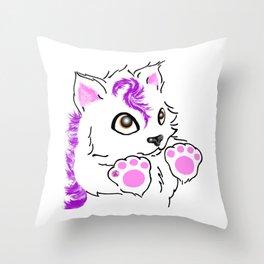 Snowfox - pink Throw Pillow