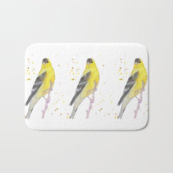 Yellow Bird Bath Mat